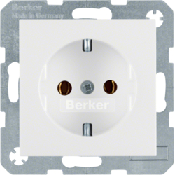 41438989 SCHUKO socket outlet with screw-in lift terminals,  Berker S.1/B.3/B.7, polar white glossy