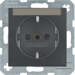 41491606 SCHUKO socket outlet with labelling field,  enhanced contact protection,  Screw-in lift terminals,  Berker S.1/B.3/B.7, anthracite,  matt