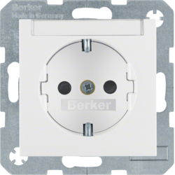 41491909 SCHUKO socket outlet with labelling field,  enhanced contact protection,  Screw-in lift terminals,  Berker S.1/B.3/B.7, polar white matt