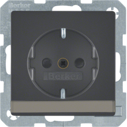 41496086 SCHUKO socket outlet with labelling field,  enhanced contact protection,  Screw-in lift terminals,  Berker Q.1/Q.3, anthracite velvety,  lacquered