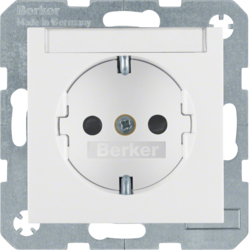 41498989 SCHUKO socket outlet with labelling field,  enhanced contact protection,  Screw-in lift terminals,  Berker S.1/B.3/B.7, polar white glossy
