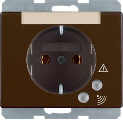 41520001 SCHUKO socket outlet with overvoltage protection with labelling field,  Screw terminals,  Berker Arsys,  brown glossy