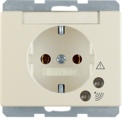 41520002 SCHUKO socket outlet with overvoltage protection with labelling field,  Screw terminals,  Berker Arsys,  white glossy