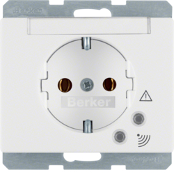 41520069 SCHUKO socket outlet with overvoltage protection with labelling field,  Screw terminals,  Berker Arsys,  polar white glossy