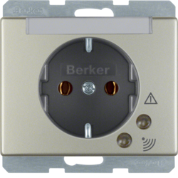 41529004 SCHUKO socket outlet with overvoltage protection with labelling field,  Screw terminals,  Berker Arsys,  stainless steel matt,  lacquered