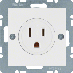 41661909 Socket outlet with earthing contact USA/CANADA NEMA 5-15 R with screw terminals,  Berker S.1/B.3/B.7, polar white matt