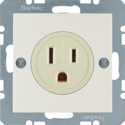 41668982 Socket outlet with earthing contact USA/CANADA NEMA 5-15 R with screw terminals,  Berker S.1, white glossy