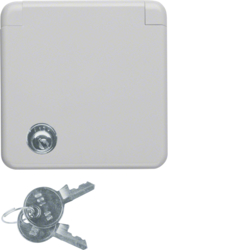 4212 SCHUKO socket outlet with cover plate and hinged cover Lock - differing lockings,  with screw terminals,  Splash-protected flush-mounted IP44, grey glossy
