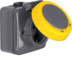 4283 SCHUKO socket outlet surface-mounted with bayonet hinged cover,  enhanced contact protection,  Screw terminals,  Isopanzer IP66, dark grey/yellow