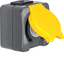 4288 Socket outlet with earthing contact and hinged cover USA/CANADA NEMA 5-20 R surface-mounted with screw terminals,  Iso-Panzer IP44, dark grey/yellow
