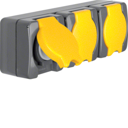 4324 Socket outlet with earthing contact and hinged cover 3gang horizontal USA/CANADA NEMA 5-15 R surface-mounted Screw terminals,  Iso-Panzer IP44, dark grey/yellow