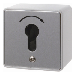 4448 Push-button with imprint surface-mounted for lock cylinder with screw terminals,  Die-Cast IP44