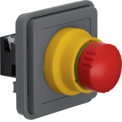 44713512 SAFETY EMERGNCY push-button insert,  NC contact + NO contact surface-mounted/flush-mounted Berker W.1, grey matt