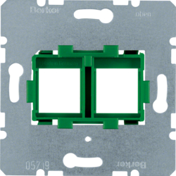 454104 Supporting plate with green mounting device 2gang for modular jacks Communication technology