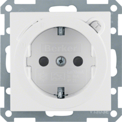 47081909 SCHUKO socket outlet with residual current circuit-breaker enhanced contact protection,  polar white matt