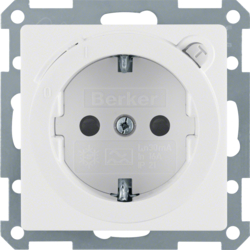 47086089 SCHUKO socket outlet with residual current circuit-breaker enhanced contact protection,  Berker Q.1/Q.3, polar white velvety
