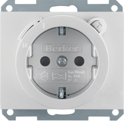 47087003 SCHUKO socket outlet with residual current circuit-breaker enhanced contact protection,  Berker K.5, aluminium,  matt,  lacquered