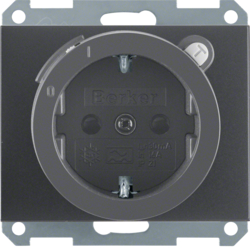 47087006 SCHUKO socket outlet with residual current circuit-breaker enhanced contact protection,  Berker K.1, anthracite matt,  lacquered