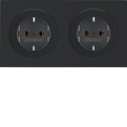 47202045 Combination SCHUKO socket outlet 2gang with frame Berker R.3, black glossy