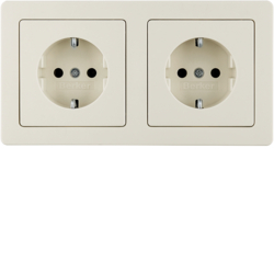 47206082 Combination SCHUKO socket outlet 2gang with frame Berker Q.1/Q.3