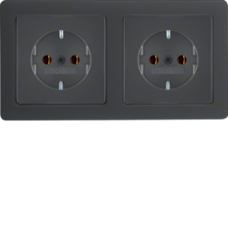 47206086 Combination SCHUKO socket outlet 2gang with frame Berker Q.1/Q.3, anthracite velvety,  lacquered
