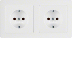 47206089 Combination SCHUKO socket outlet 2gang with frame Berker Q.1/Q.3, polar white velvety