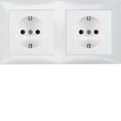 47208989 Combination SCHUKO socket outlet 2gang with frame Berker S.1, polar white glossy