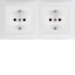 47209909 Combination SCHUKO socket outlet 2gang with frame Berker S.1, polar white matt