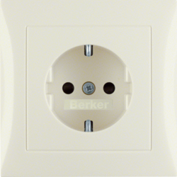 47228982 SCHUKO socket outlet with cover plate with enhanced touch protection,  Berker S.1, white glossy