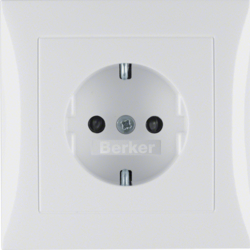 47228989 SCHUKO socket outlet with cover plate with enhanced touch protection,  Berker S.1, polar white glossy