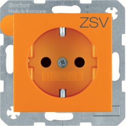 "47231907 SCHUKO socket outlet with ""ZSV"" imprint enhanced contact protection,  Berker S.1/B.3/B.7, orange"