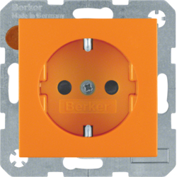 47231914 SCHUKO socket outlet with enhanced touch protection,  Berker S.1/B.3/B.7, orange matt