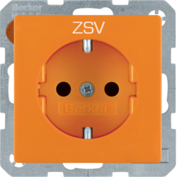 "47236007 SCHUKO socket outlet with ""ZSV"" imprint enhanced contact protection,  Berker Q.1/Q.3, orange"