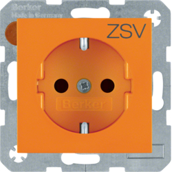 "47238907 SCHUKO socket outlet with ""ZSV"" imprint enhanced contact protection,  Berker S.1/B.3/B.7, orange"