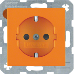 47238914 SCHUKO socket outlet with enhanced touch protection,  Berker S.1/B.3/B.7, orange glossy