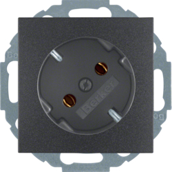 47271606 SCHUKO socket outlet 45° Berker S.1/B.3/B.7, anthracite,  matt