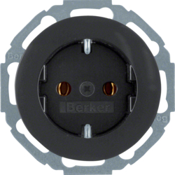 47272045 SCHUKO socket outlet 45° Berker R.1/R.3/R.8, black glossy