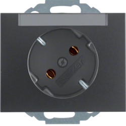 47287106 SCHUKO socket outlet 45° with labelling field,  Berker K.1, anthracite matt,  lacquered