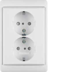 47290069 Double SCHUKO socket outlet with frame enhanced contact protection,  Berker Arsys,  polar white glossy