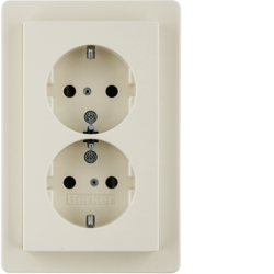47296082 Double SCHUKO socket outlet with cover plate enhanced contact protection