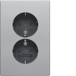 47296084 Double SCHUKO socket outlet with cover plate enhanced contact protection