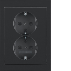 47297005 Double SCHUKO socket outlet with cover plate enhanced contact protection,  Berker K.1, black glossy