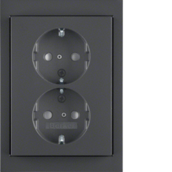 47297006 Double SCHUKO socket outlet with cover plate enhanced contact protection,  Berker K.1, anthracite matt,  lacquered