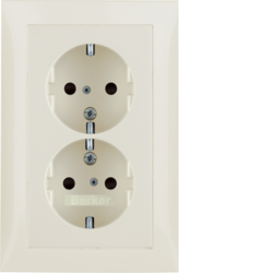 47298982 Double SCHUKO socket outlet with cover plate enhanced contact protection,  Berker S.1, white glossy