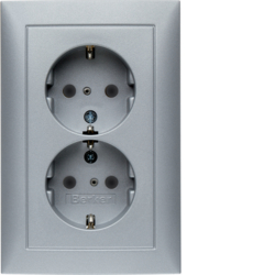 47299939 Double SCHUKO socket outlet with cover plate enhanced contact protection,  Berker S.1, aluminium,  matt,  lacquered