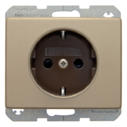 47340001 SCHUKO socket outlet with enhanced touch protection,  Berker Arsys,  light bronze matt,  aluminium lacquered