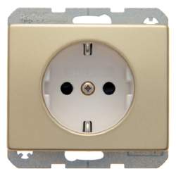 47340002 SCHUKO socket outlet with enhanced touch protection,  Berker Arsys,  gold matt,  aluminium anodised