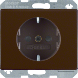 47350001 SCHUKO socket outlet with enhanced touch protection,  Berker Arsys,  brown glossy