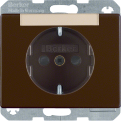 47380001 SCHUKO socket outlet with labelling field,  enhanced contact protection,  Berker Arsys,  brown glossy