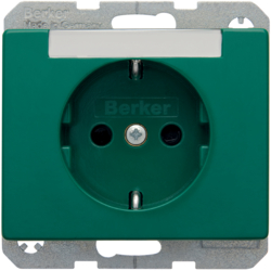 47380063 SCHUKO socket outlet with labelling field,  enhanced contact protection,  Berker Arsys,  green glossy